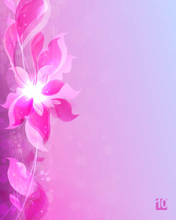 Light composition with a light pink gradient, abstract silhouettes and leaves