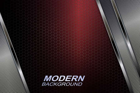 Red dark mesh background with a gradient, textural blinds with shiny stripes in a metallic hue.