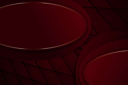 Red dark composition with oval frames with a thin shiny rim of a golden hue