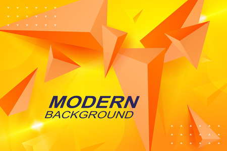 Background of a yellow shade with triangles of orange color, effect 3D Иллюстрация
