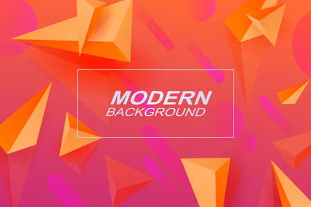 Background of a pink shade with a gradient, stripes, triangles of orange color with the effect of 3D