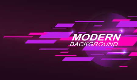 Dark geometric design with gradient, pink and purple horizontal stripes.