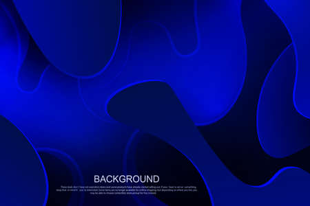 Blue dark composition with gradient, abstract oval shapes with wavy stripes.