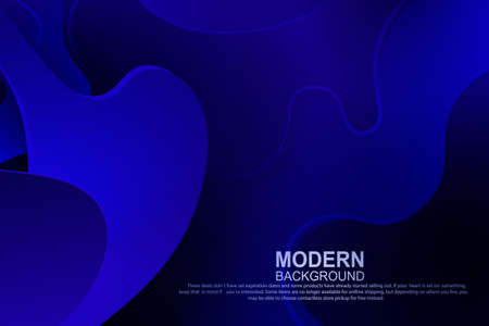 Blue dark composition with gradient, abstract oval shapes, wavy stripes. 向量圖像