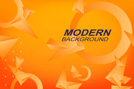 Background in orange hue with geometric shapes triangles and rings
