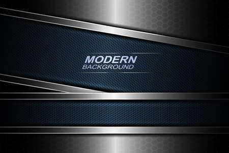 Mesh background with blue textured frames with a metallic border