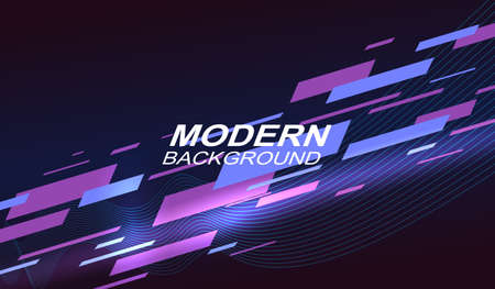 Dark geometric background with a gradient, many oblique stripes of blue and purple