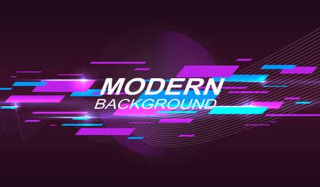 Dark geometric design with a gradient, blue and purple stripes.