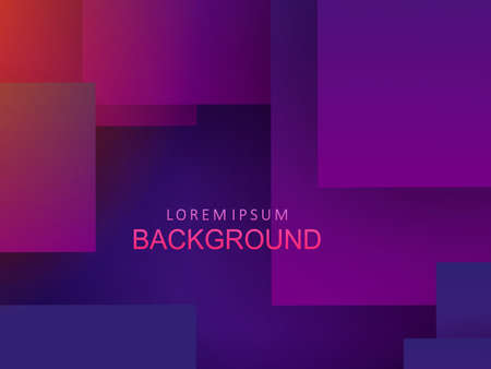 Abstract geometric design, squares with shadow and gradient of blue and purple hue