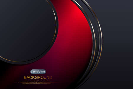 Abstract composition with a gradient of red, arched curtains and a circle with a golden thin border