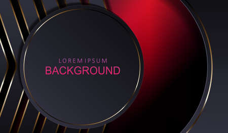 Textured red background, gray round frame, oval curtain, silhouette of arrows with gold border