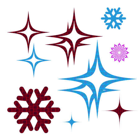 Element for Christmas composition.Silhouette of abstract textured glitter and snowflakes