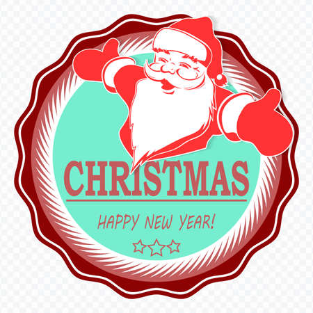 Christmas composition element. Round sign with silhouette of Santa Claus