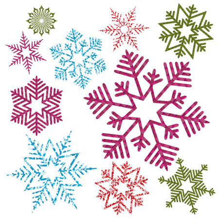 Element for Christmas composition.Silhouette of multicolored textured snowflakes