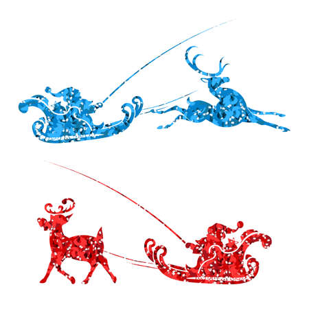 Element of Christmas composition. Texture silhouette of Santa Claus rides in a sleigh on a reindeer Иллюстрация