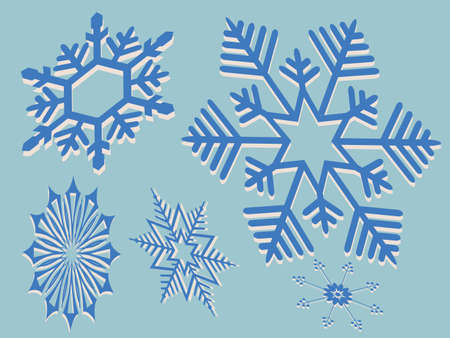Element for Christmas composition.Set of gorgeous snowflakes in blue