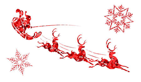 Textured silhouette of Santa Claus on a sleigh with reindeer and red snowflakes
