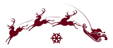 Element of Christmas composition. Texture silhouette of Santa Claus in a sleigh rushes on a red reindeer