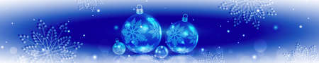 Christmas blue composition with gradient, set of balls with snowflakes and reflection Иллюстрация