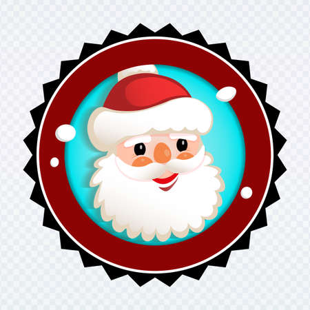 Element of Christmas composition. Round sign with a silhouette of the face of a cheerful Santa Claus Иллюстрация