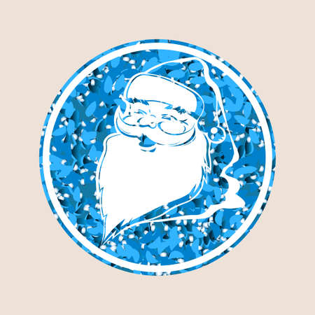 Christmas composition element. Texture blue sign with silhouette of Santa Claus