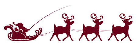Element of Christmas composition.Texture silhouette of Santa Claus riding red reindeer Иллюстрация
