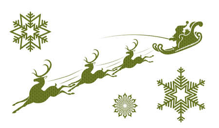 Silhouette of Santa Claus on a sleigh, reindeer and snowflakes in green