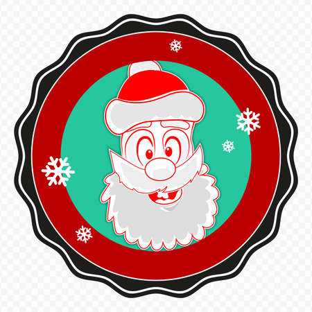 Element of Christmas composition.Round sign with a silhouette of the face of Santa Claus