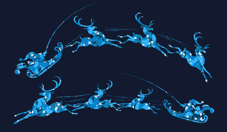 Element of Christmas composition.Textured blue silhouette of Santa Claus riding in reindeer harness