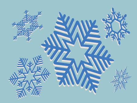 Element for Christmas composition.Set of blue tint snowflakes Иллюстрация