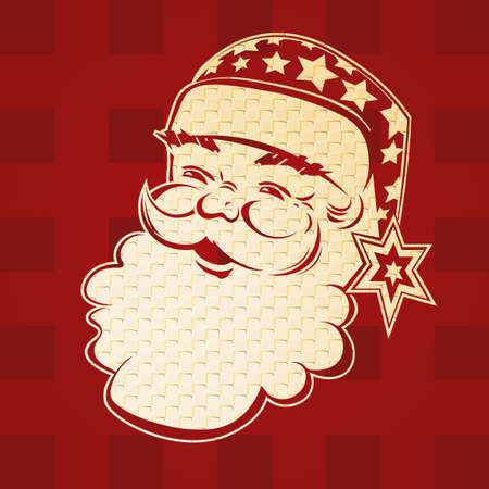 Element of Christmas composition. Texture silhouette of the head of Santa Claus, hat with stars