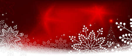 Christmas red composition with white snowflakes and abstract Christmas tree silhouette Иллюстрация