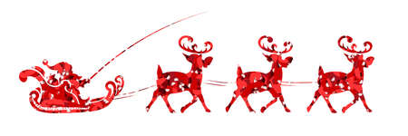Element of Christmas composition. Texture silhouette of Santa Claus rides in a sleigh on a reindeer in red