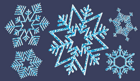 Element of Christmas composition.Set of blue textured snowflakes