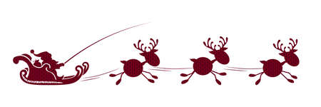 Element of Christmas composition. Texture silhouette of Santa Claus riding small reindeer of red shade