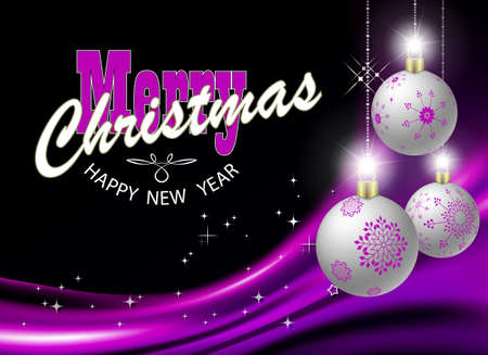 Christmas purple background with gradient, gorgeous Christmas balls with glitter Иллюстрация