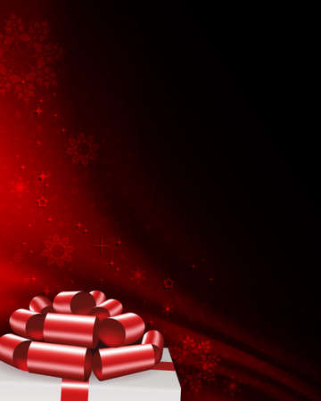 Christmas red composition with snowflakes, white box lid silhouette with a red bow