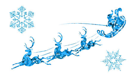 Textured silhouette of Santa Claus on a sleigh with reindeer and blue tint snowflakes Иллюстрация