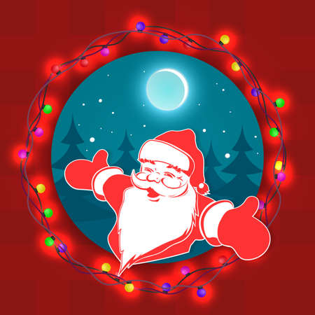 Christmas composition element.Round blue pattern with wreath and face of Santa Claus Иллюстрация