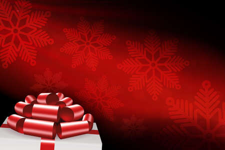 Christmas red composition with snowflakes, white box lid silhouette, red bow