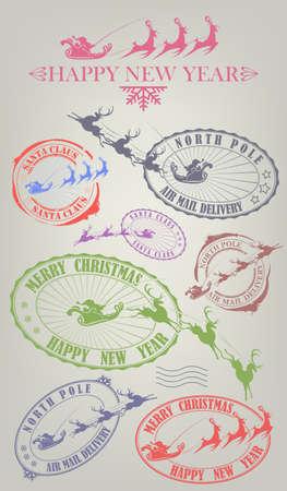 Christmas composition element. Print silhouette with Santa Claus riding reindeer set Иллюстрация