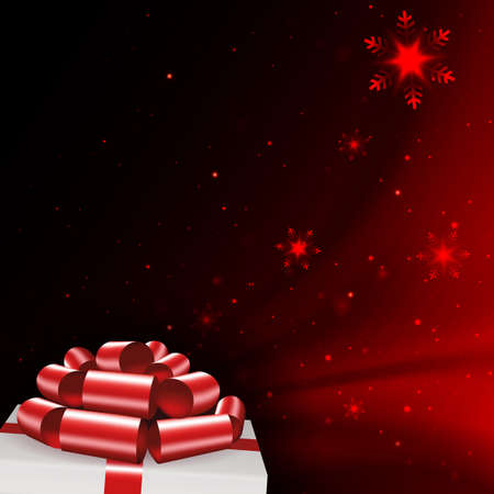 Christmas dark red composition with snowflakes, white box lid silhouette, red bow Иллюстрация