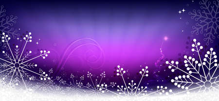 Christmas composition in purple color with a gradient, set of lovely snowflakes, silhouette of an abstract Christmas tree