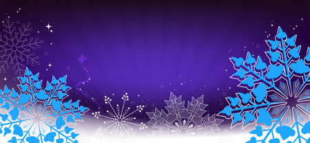 Christmas composition in blue with a gradient, set of lovely snowflakes, silhouette of an abstract Christmas tree