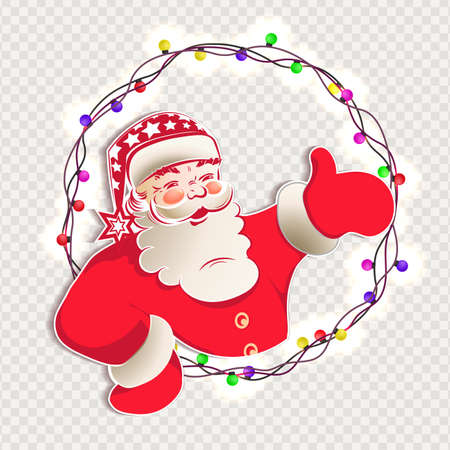 Element of Christmas composition.Silhouette of Santa Claus, hand indicates the direction, a wreath of glowing bulbs