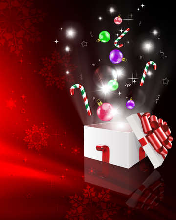 Christmas red composition with snowflakes and a white box, holiday toys, ribbons, bright light from the box Иллюстрация
