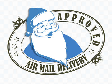 Element of Christmas composition. Oval stamp with face of Santa Claus with beard