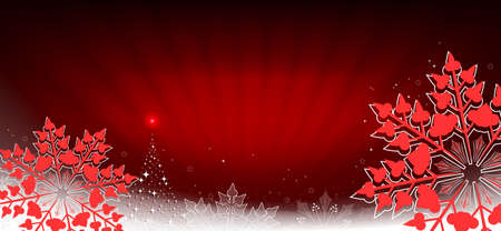 Red composition with rays of light and red snowflakes with edging Иллюстрация
