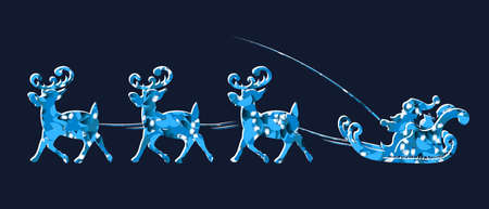 Element Christmas composition.Textured blue silhouette of Santa Claus slowly riding in a reindeer harness