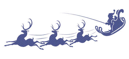 Textured silhouette of Santa Claus on a sleigh with reindeer in blue shade